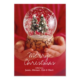 Child's hands holding snow globe 13 cm x 18 cm invitation card