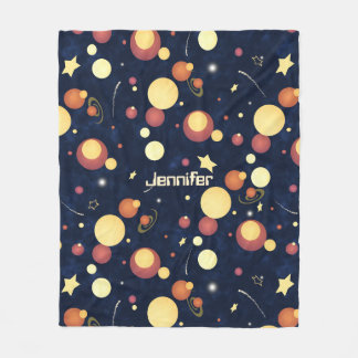 child's name abstract planets stars space pattern fleece blanket