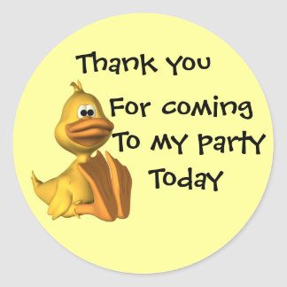 Childs Party Duck  Thankyou Classic Round Sticker