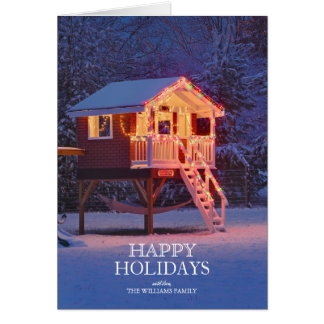 Childs playhouse with snow and Christmas lights Card