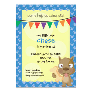 "Childs Puppy Birthday Party Invite 4.5"" X 6.25"" Invitation Card"