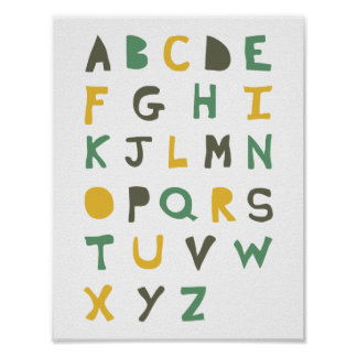 Child's Quirky Hand-drawn Alphabet Poster