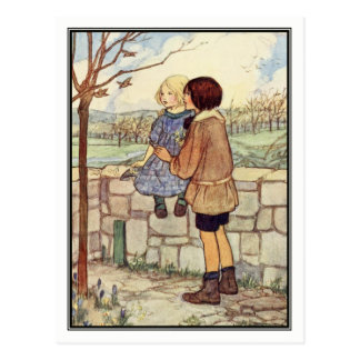 Child's Talk in April by Florence Harrison Postcard
