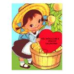 Child's VALENTINE POSTCARD Little Girl w/ Peaches