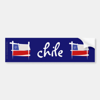 Chile Brush Flag Bumper Sticker
