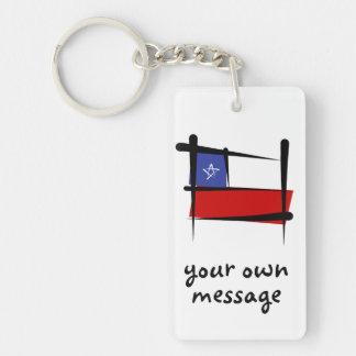 Chile Brush Flag Double-Sided Rectangular Acrylic Key Ring
