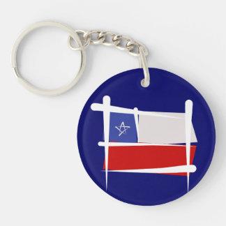 Chile Brush Flag Double-Sided Round Acrylic Key Ring