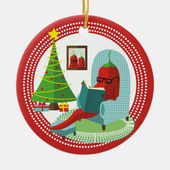 Chile chilli pepper reading book Christmas Christmas Ornament