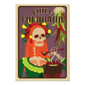 chile colorado 9 cm x 13 cm invitation card