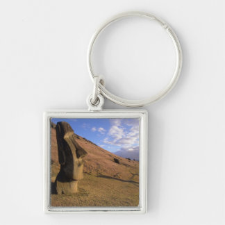 Chile, Easter Island. Hillside with Moai Silver-Colored Square Key Ring