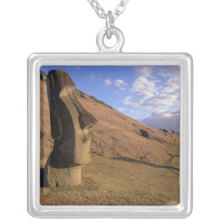 Chile, Easter Island. Hillside with Moai Silver Plated Necklace