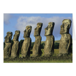 Chile, Easter Island, Rapa Nui, Ahu Akivi Greeting Card
