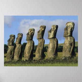 Chile, Easter Island, Rapa Nui, Ahu Akivi Poster