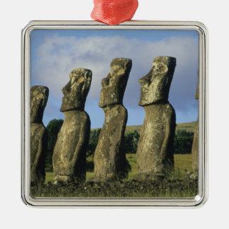 Chile, Easter Island, Rapa Nui, Ahu Akivi Silver-Colored Square Decoration