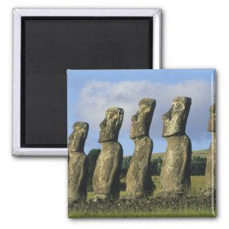 Chile, Easter Island, Rapa Nui, Ahu Akivi Square Magnet