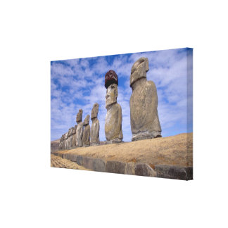 Chile, Easter Island. The 15 Moais at Ahu Canvas Print