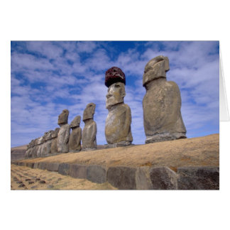 Chile, Easter Island. The 15 Moais at Ahu Greeting Card