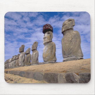 Chile, Easter Island. The 15 Moais at Ahu Mouse Mat
