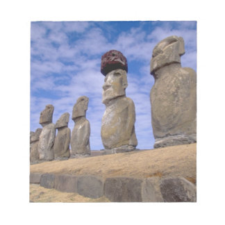 Chile, Easter Island. The 15 Moais at Ahu Notepad