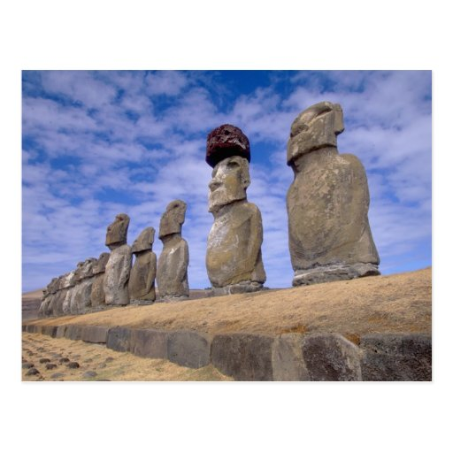 Chile, Easter Island. The 15 Moais at Ahu Post Card
