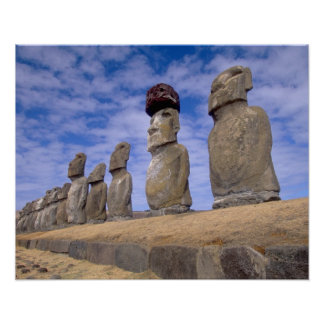 Chile, Easter Island. The 15 Moais at Ahu Poster