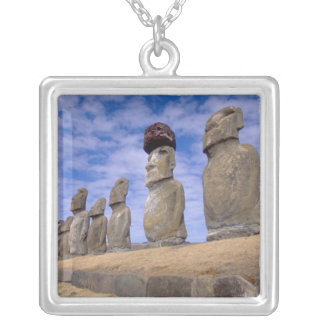 Chile, Easter Island. The 15 Moais at Ahu Silver Plated Necklace