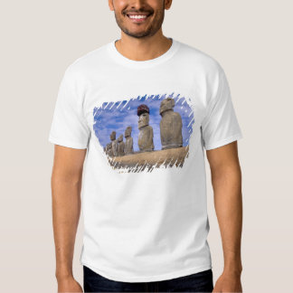 Chile, Easter Island. The 15 Moais at Ahu Tee Shirt