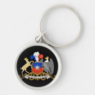 chile emblem Silver-Colored round key ring