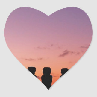 Chile Figures In The Sunset Heart Sticker