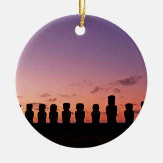 Chile Figures In The Sunset Round Ceramic Decoration