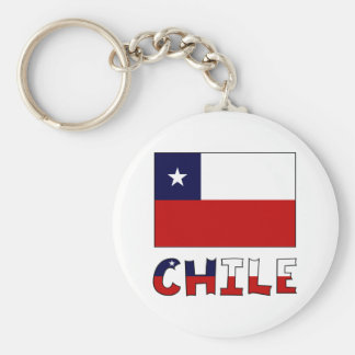 Chile Flag and Name in Color Basic Round Button Key Ring
