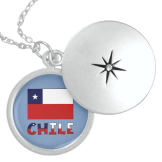 Chile Flag and Name in Color Round Locket Necklace
