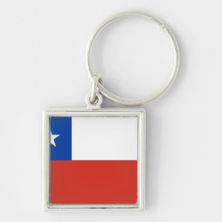 Chile Flag CL Silver-Colored Square Key Ring