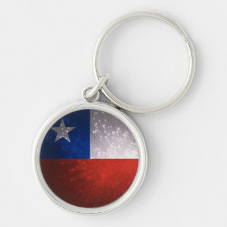 Chile Flag Firework Silver-Colored Round Key Ring