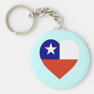 Chile Flag Heart Basic Round Button Key Ring