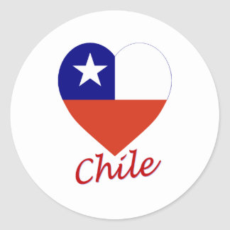 Chile Flag Heart Classic Round Sticker