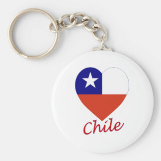 Chile Flag Heart Key Ring