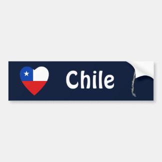Chile Flag Heart + Map Bumper Sticker