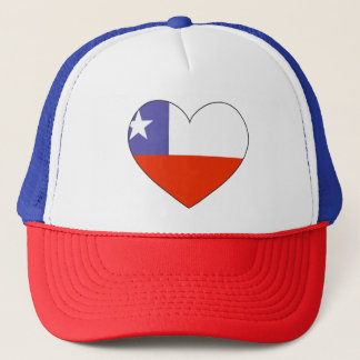 Chile Flag Heart Trucker Hat