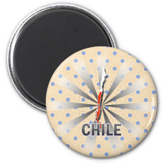 Chile Flag Map 2.0 6 Cm Round Magnet