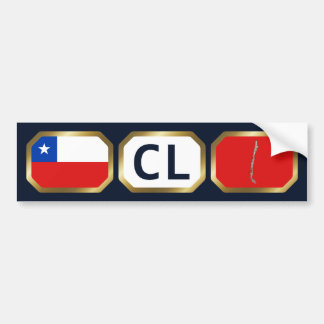 Chile Flag Map Code Bumper Sticker