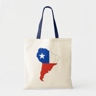 Chile Flag on a Map of South America Tote Bags