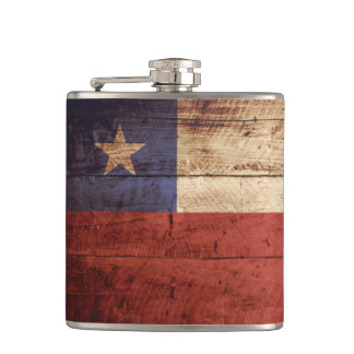 Chile Flag on Old Wood Grain Hip Flask