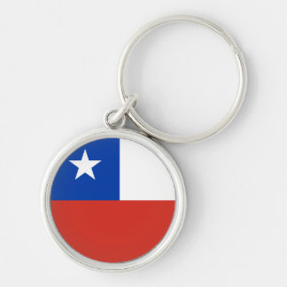 Chile Flag Silver-Colored Round Key Ring