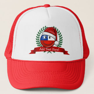 Chile Flag Smiley Christmas Style Trucker Hat