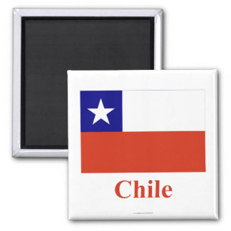 Chile Flag with Name Square Magnet