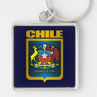 """Chile Gold"" Silver-Colored Square Key Ring"