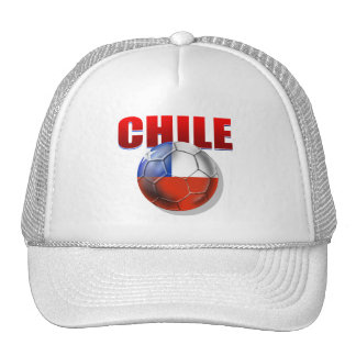 Chile logo soccer ball flag of Chile gear Mesh Hats