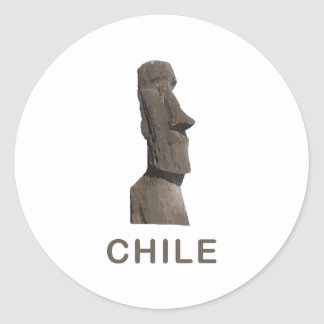 Chile Moai Round Sticker