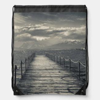 Chile, pier at Puerto Bories Drawstring Bag